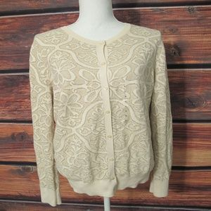 Loft Cardigan Sweater Cardigan Large Cream Gold